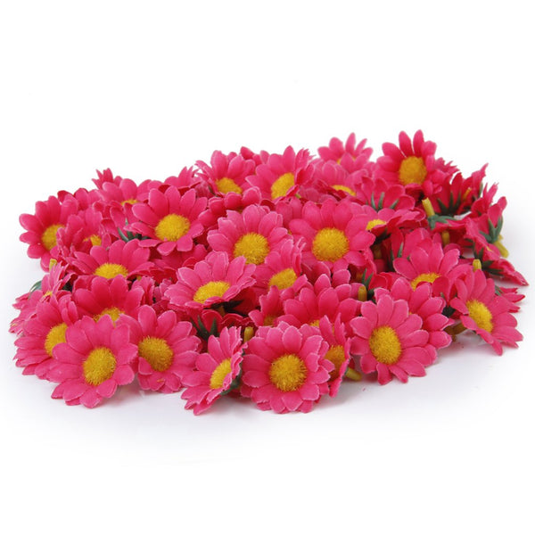 100x Artificial Gerbera Daisy Silk Flowers Heads for Diy Wedding Party - Rose Red