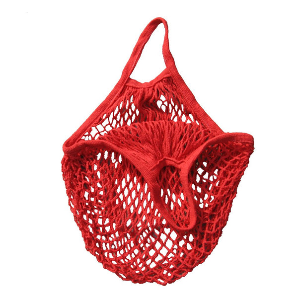 1x Mesh Bag COTTON STRING SHOPPING Short Handle Re-Usable Bag Red