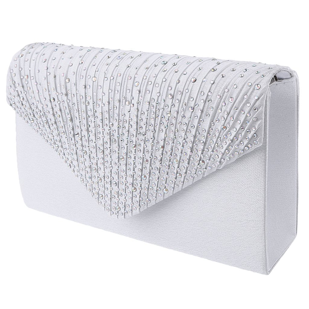 MagiDeal Womens Satin Diamante Clutch Shouler Bag Evening Bridal Prom Handbag White - MagiDeal