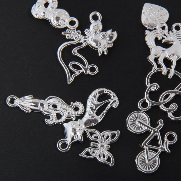 20 Mixed Style Heart DIY Charms Jewelry Findings Pendant Beads Crafts Silver