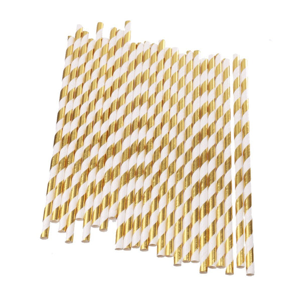 25Pcs Gold Foil Stripe Summer Bar Decor Party Cocktail Juice Drinking Straws