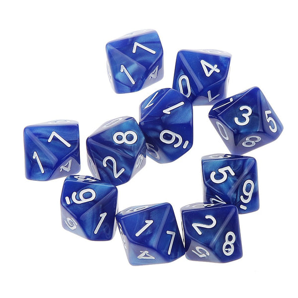 10pcs Ten Sided Dice D10 Playing D&D RPG Party Games Dices Blue