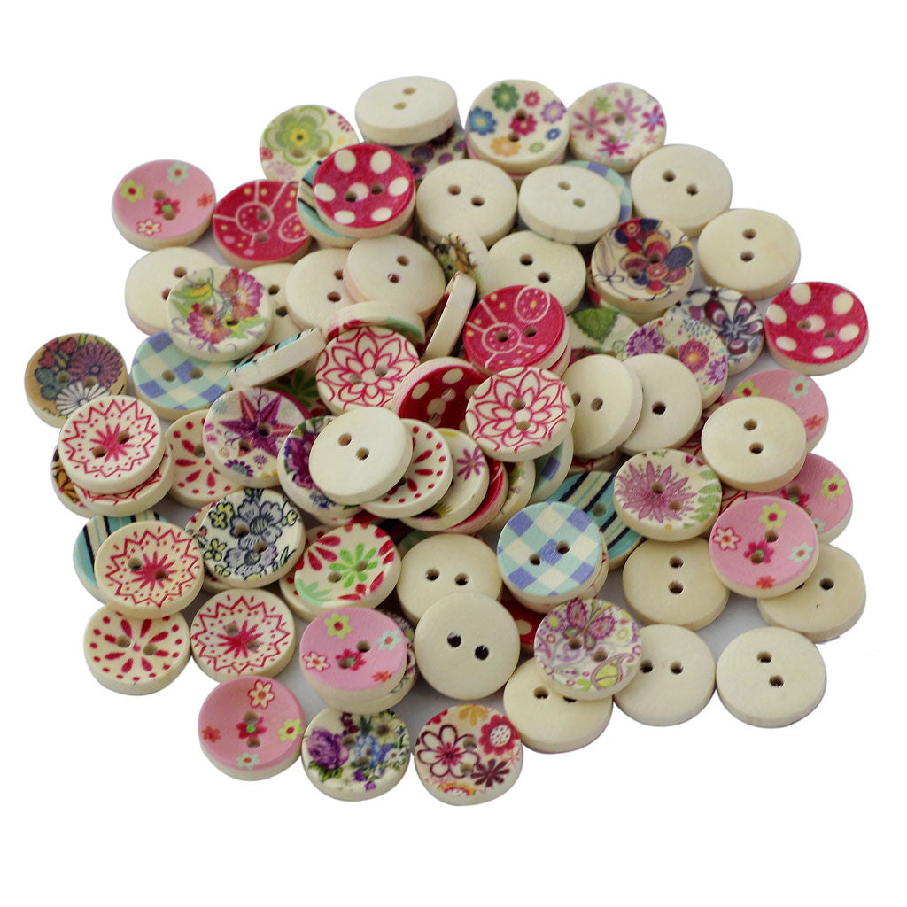 MagiDeal 100Pcs Painted Colors Round DIY Wooden Buttons for Sewing and Crafting - MagiDeal