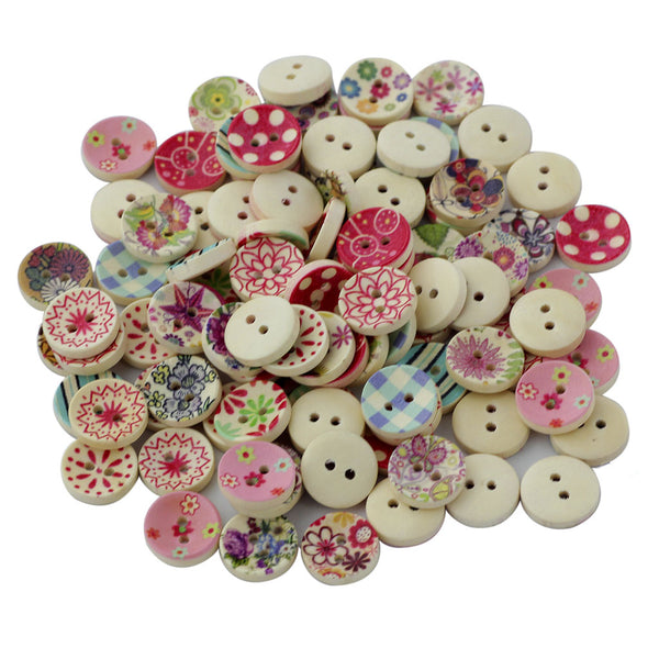 MagiDeal 100Pcs Painted Colors Round DIY Wooden Buttons for Sewing and Crafting