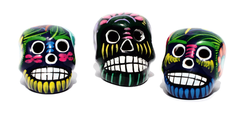 Set of Mini Mexican Ceramic Skulls