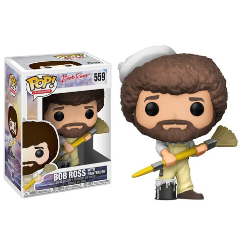 Funko POP! Television - The Joy of Painting: Bob Ross with Paintbrush Vinyl Figure [Toys, Ages 3+, #559]