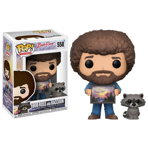 Funko POP! Television - The Joy of Painting: Bob Ross with Raccoon Vinyl Figure [Toys, Ages 3+, #558]