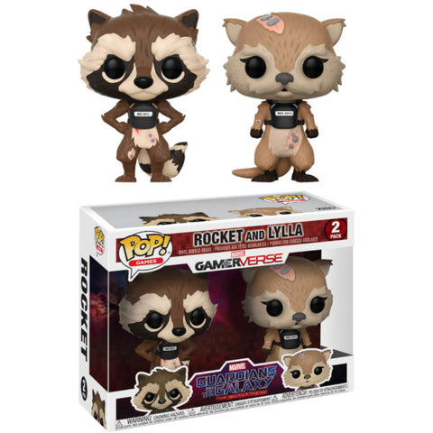 Funko Pop! Games: Marvel Guardians of The Galaxy Telltale Series - Rocket & Lylla Vinyl Bobble-heads [Toys, Ages 3+, 2-Pack]