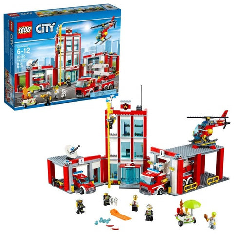 LEGO City: Fire Station - 919 Piece Building Kit [LEGO, #60110, Ages 6-12]