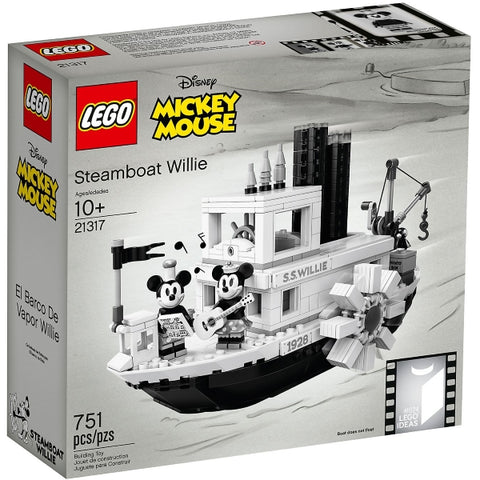 LEGO Ideas Disney Mickey Mouse: Steamboat Willie - 751 Piece Building Kit [LEGO, #21317, Ages 10+]