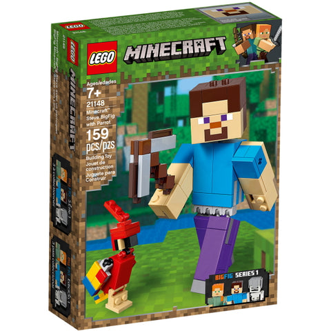 LEGO Minecraft: Steve BigFig with Parrot - 159 Piece Building Kit [LEGO, #21148, Ages 7+]