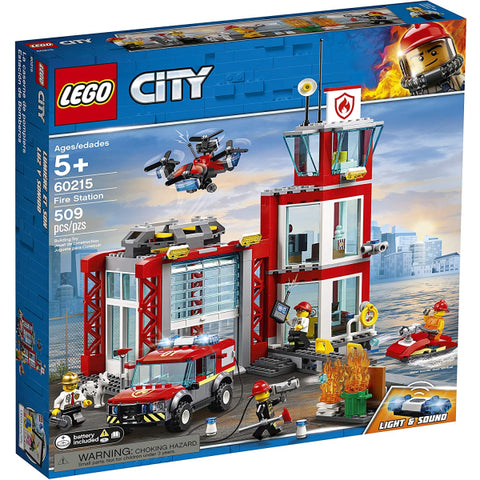 LEGO City: Fire Station - 509 Piece Building Kit [LEGO, #60215, Ages 5+]