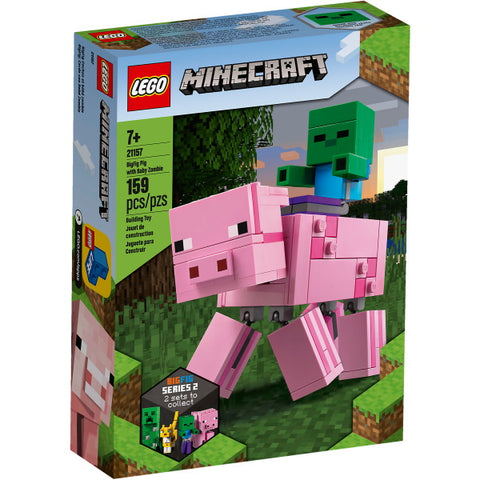 LEGO Minecraft: BigFig Pig with Baby Zombie - 159 Piece Building Kit [LEGO, #21157, Ages 7+]