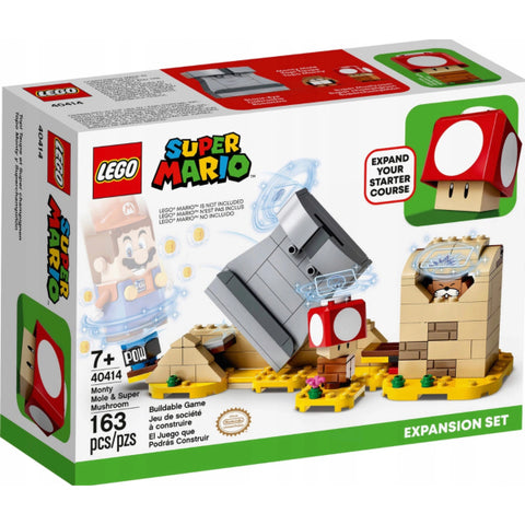 LEGO Super Mario: Monty Mole & Super Mushroom Expansion Set - 163 Piece Building Kit [LEGO, #40414, Ages 7+]