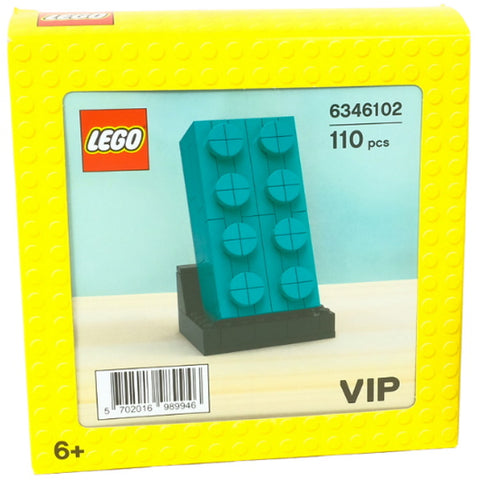 LEGO VIP: 2×4 Teal Buildable Brick - 110 Piece Building Set [LEGO, #6346101, Ages 6+]