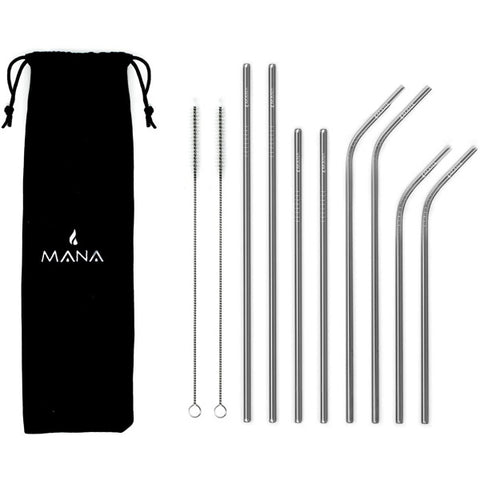 MANA Stainless Steel Straw Set - 8 Reusable Drinking Straws [House & Home]