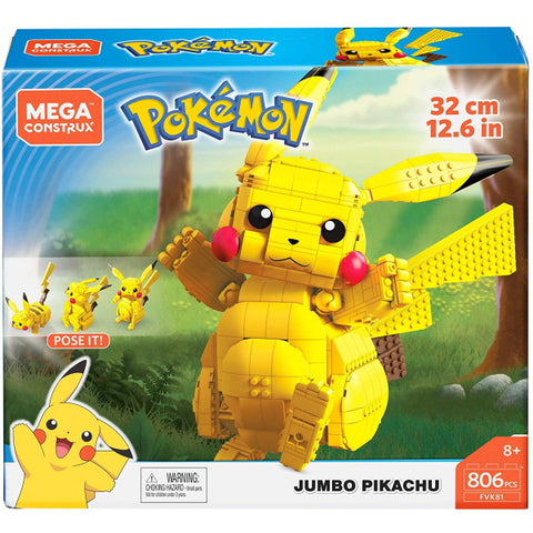 Mega Construx Pokemon: Jumbo Pikachu - 806 Piece Building Kit [LEGO, #FVK81, Ages 8+]