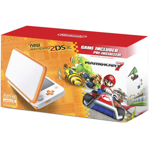 NEW Nintendo 2DS XL Console - Orange and White - Includes Mario Kart 7  [NEW Nintendo 2DS System]