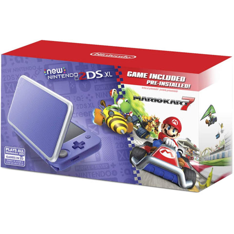 NEW Nintendo 2DS XL Console - Purple + Silver - Includes Mario Kart 7 [NEW Nintendo 2DS System]