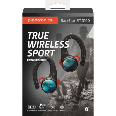 Plantronics BackBeat FIT 3100 True Wireless Earbud Headphones - Black [Electronics]