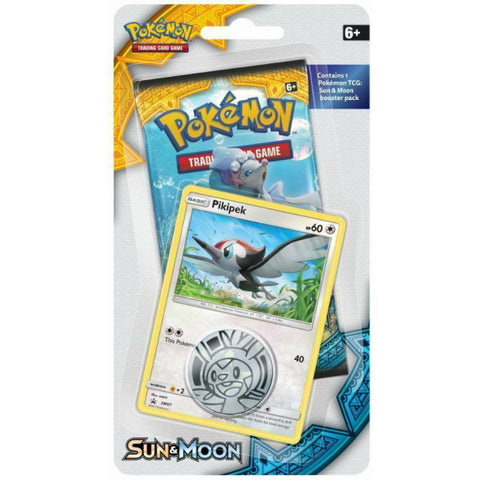 Pokemon TCG: Sun & Moon - Checklane Blister Pack + Pikipek Card & Collectible Coin [Card Game, 2 Players]