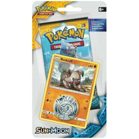 Pokemon TCG: Sun & Moon - Checklane Blister Pack + Rockruff Card & Collectible Coin [Card Game, 2 Players]