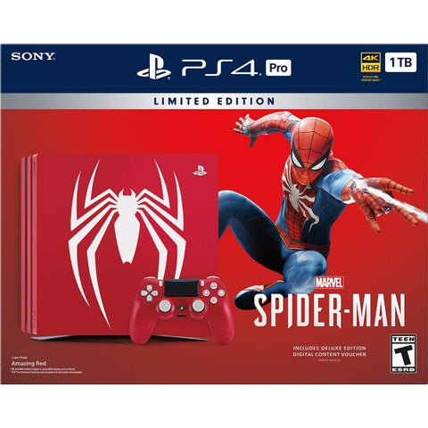 PlayStation 4 Pro Console - Limited Edition Amazing Red Marvel's Spider Man Bundle - 1TB [PlayStation 4 System]