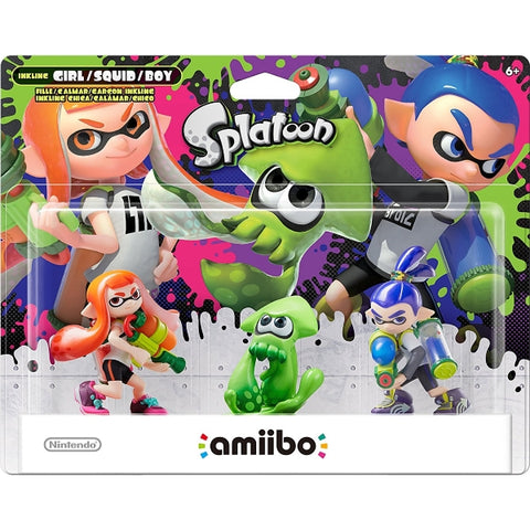 Inkling Girl + Squid + Boy Amiibo 3-Pack - Splatoon Series [Nintendo Accessory]