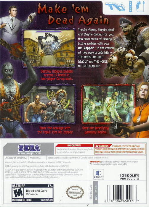 The House of the Dead 2 & 3 Return [Nintendo Wii]