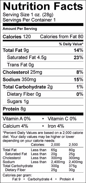 Beef Snack Sticks Nutrition Information Label-Original