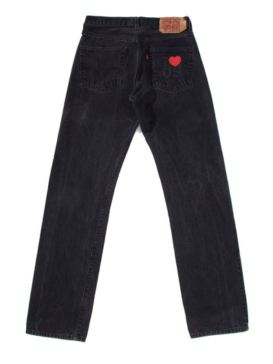 WASHED BLACK DENIM PANTS