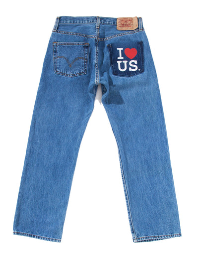 NO BACK POCKET I LOVE US PRINT DENIM PANTS
