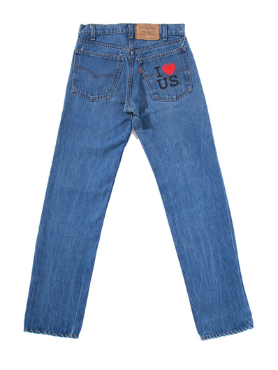 KNEE WASHED DENIM PANTS