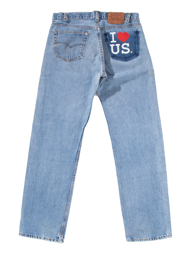 NO BACK POCKET I LOVE US PRINT MEDIUM DENIM PANTS