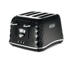 Delonghi CTJ4003.BK Brillante Faceted 4 Slice Toaster - Black 1800W