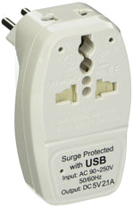 OREI Type N Universal 3 in 1 Plug Adapter for Brazil Travel with USB and Surge Protection-Grounded.