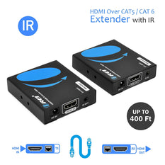 OREI HDMI Extender Over LAN Single CAT5e/CAT6A/CAT7 Cable Uncompressed 1080p @ 60Hz with IR - Up to 400 Ft - Digital Full HD - Balun Kit Video Transmitter and Receiver Through LAN