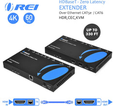 OREI 4K HDMI Extender Balun - HDBaseT UltraHD 4K @ 60Hz 4:4:4 Over Single CAT5e/6/7 Cable with HDR, KVM, CEC, ARC & IR Support, RS-232 - Up to 330 Ft - Audio Out - Power Over Cable