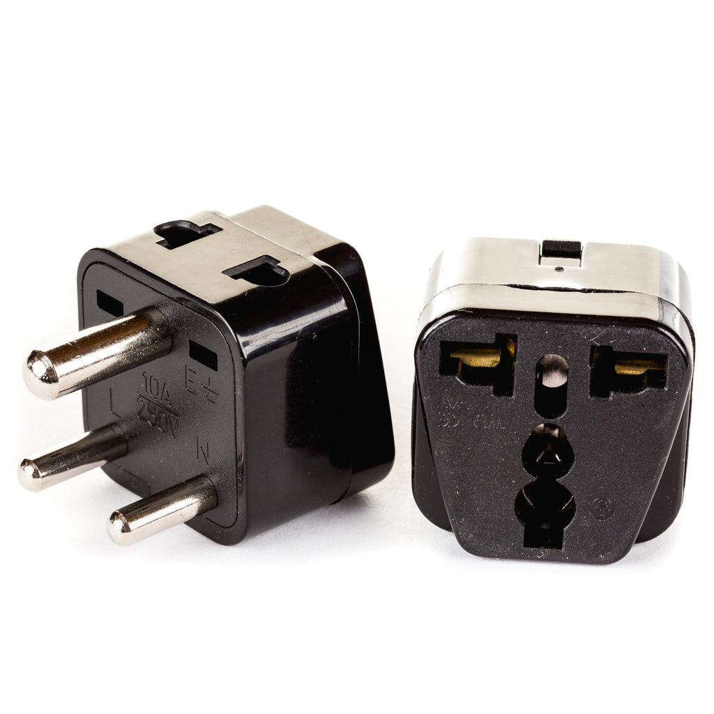 - 2-Pack Orei 2 in 1 USA to India Travel Adapter Plug Black Nepal Type D