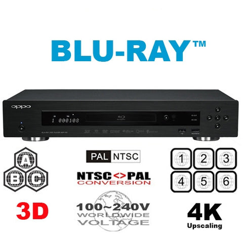 Oppo BDP-103 Multi Region Code Free DVD Blu-ray disc Player - 3D Support - 4K Upscaling