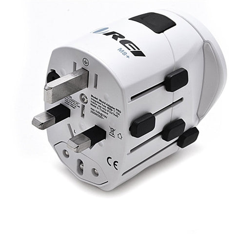OREI M8 Plus Worldwide All-in-One Travel Plug Adapter Kit w/ Dual USB Chargers - White