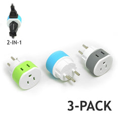 OREI Israel, Palestine Travel Plug Adapter - 2 USA Inputs -  3 Pack - Type H