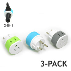 OREI Denmark Travel Plug Adapter - 2 USA Inputs - 3 Pack -  Type K