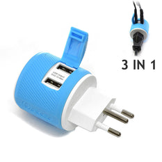OREI Brazil Travel Plug Adapter - Dual USB - Surge Protection - Type N