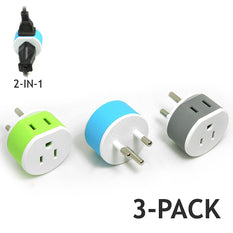 OREI Thailand Travel Plug Adapter - 2 USA Inputs - 3 Pack - Type O