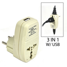 Type H - OREI Grounded 3 in 1 Plug Adapter with USB & Surge Protection - Israel