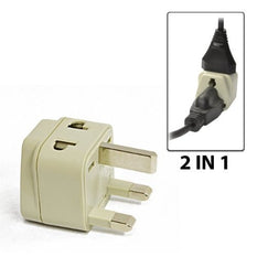 Type G - OREI Grounded 2 in 1 Plug Adapter - UK, Hong Kong, Singapore