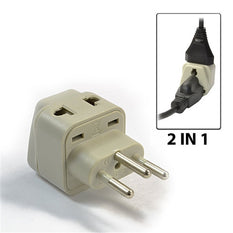 Type J - OREI Grounded 2 in 1 Plug Adapter - Swiss, Switzerland