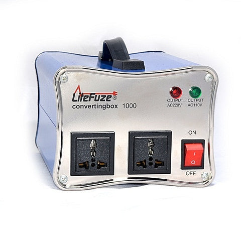 LiteFuze convertingbox 1000 Light Weight Voltage Converter Transformer - Step Up/Down - Heavy Duty - Lifetime Warranty