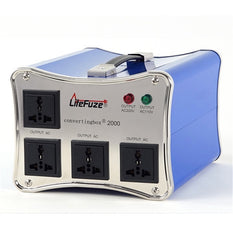 LiteFuze convertingbox 2000 Light Weight Voltage Converter Transformer - Step Up/Down - Heavy Duty - Lifetime Warranty